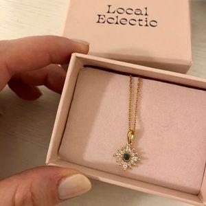 14K Gold Plated Blue Topaz Necklace